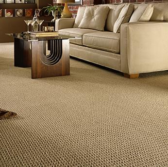 Living room scene with tan American Showcase carpet.